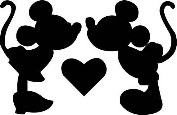 disney minnie mickey kiss svg design for silhouette studio cut files clip art includes silhouette file