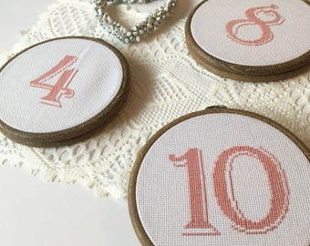 Wedding Cross Stitch Table Numbers   Set of TEN
