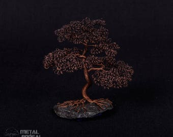 Aged Copper Wire Tree Sculpture on Slate Stone