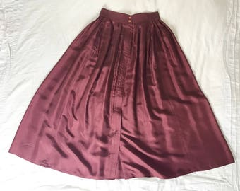 Vintage Maroon Silk High Waisted Maxi Skirt with Buttons and Pockets, by Diane Gilman, Size Small