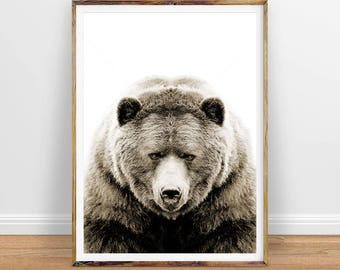 Bear Digital Print, Printable Woodlands Nursery Decor, Bear Wall Art, Printable Poster, Instant Digital Download Printable Art