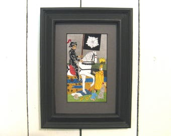 Death, Fabric Tarot Card Art, 3x5 inch, matted, unframed, mixed media, made to order