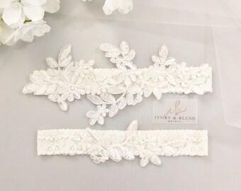 Wedding Garter LIGHT IVORY- Bridal Garter Lace Garter Wedding Garter Set Bridal Garter Set Ivory Garter Toss Garter Weddings  - Style #F0117