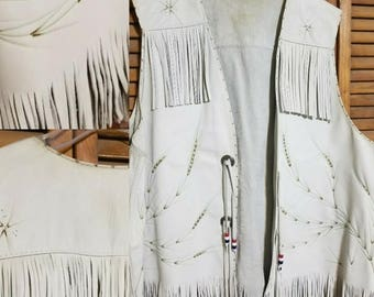 Handmade leather fringe vest