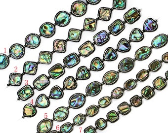 Lovely Bead Abalone Rectangle with Pave Rhinestone Strand