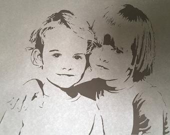 custom portrait based on photo, family portrait, personalized portrait, paper cut art, wall decor, framed, souvenir, gift, wall hanging