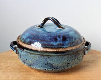 Ceramic Lidded Casserole Baking Dish with Handles Cosmic Blue