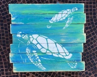 Sea Turtle Pallet Art, Reclaimed wood art, Ocean art, Marine art, Green turtle wall art, Coastal Decor