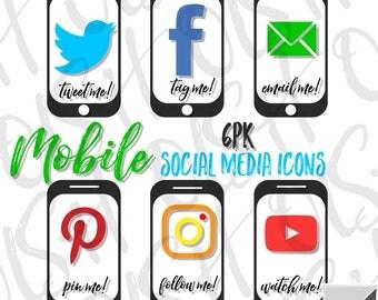 Phone Social Media Icons 6pk