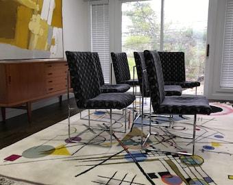 Mid Century Modern Milo Baughman Chrome Dining Chairs