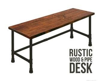 desk pipe desk industrial modern desk rustic wood desk urban wood desk