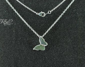 Butterfly Necklace pendant * silver * necklace * chain * pentain butterfly * silver plated
