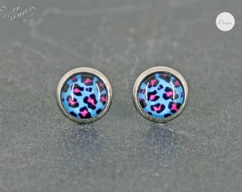 earrings stainless steel leo muster cabochon pink 8 mm turquoise leopard stainless steel - Leo Muster