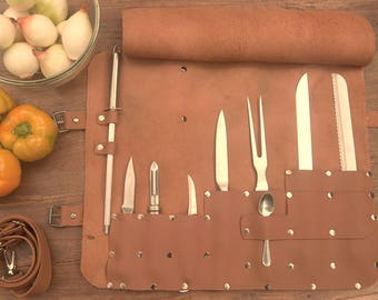 Leather Knives Roll