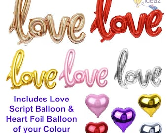 Love Balloons & Love Heart Balloon - Free Shipping - Rose Gold, Red, Silver, Pink, Gold - Wedding Balloons, Engagement Party, Valentines Day