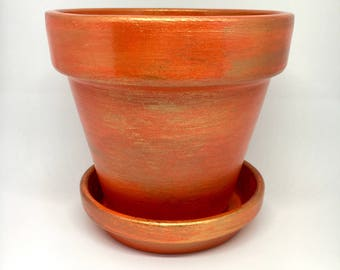 Hand painted terracotta pot, flower pot, terracotta pot