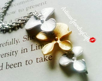Matte Silver And Matte Gold Mixed Orchid Necklace Bridesmaid Necklace Bridal Necklace Women's Necklace