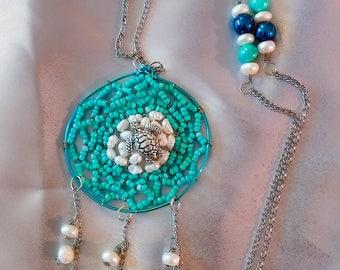Sea turtle nest Dreamcatcher necklace