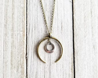 Crescent Moon Necklace, Geometric Necklace, Long Chain Necklace, Bohemian Moon Necklace, Boho Crescent Necklace, Mixed Metal Necklace