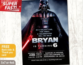 DARTH VADER INVITATION, Star Wars Invitation, Star Wars Party Invite, Star Wars Birthday Invite, Star Wars Invite, Darth Vader Birthday, v2
