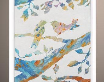 Tree Painting, Trees Original Abstract Art Painting, Birds on Tree, Art by Lara Wonderland