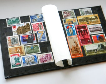 Vintage Album with Postal Stamps of the USSR-Soviet Postage Stamp Collecting Album-Vintage Stamp Book-set of 22 Soviet stamps