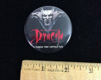ON SALE Vintage Bram Stoker's Dracula Movie Pin Back Button / dated 1995 / movie collectible / Francis Ford Coppola / Gary Oldman / Winona R