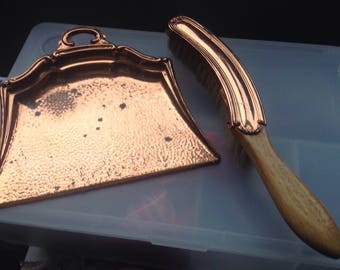 Vintage Copper Crumb Tray and Brush , Copper table brush and tray , Vintage crumb cleaner, Butlers Brush