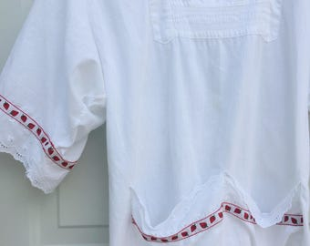 1960's White Tie Back tunic peasant top with Strawberry Eyelet Detailing