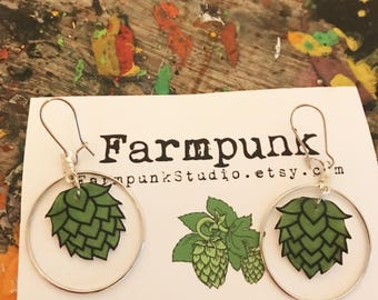 Farmpunk sweet dangle Hop earrings...to wear while you sip your beer sampler tray...