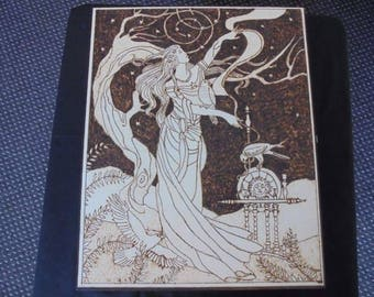 Norse Goddess 'Frigga'  large wood e n hand Pyrography box