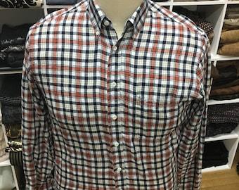 Vintage Style Orange and Black Plaid Men's Shirt