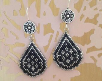 Beads Miyuki 11 peyote stitch silver hook earrings