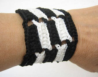 Black and white, Wrist corsage, Wide cuff, Crochet bracelet, Wristband, Teen jewelry, Gift for teen, Black and white bracelet