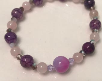 Headache relief- healing Gemstone Bracelet of rose quartz & amethyst