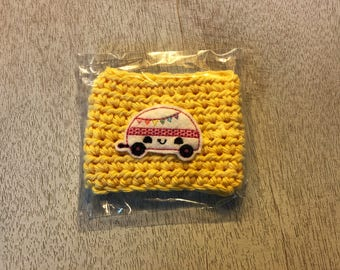 Yellow Camping Camper cup cozy, coffee cup cozy, crochet cup cozy, coffee cup sleeve, crochet cozy, crochet cozie, Starbucks Dunkin coffee