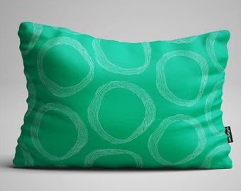 Green Geometric Lumbar Pillow, Throw Pillow, Pattern Pillow, Rectangular Pillow, Decorative Pillow, Throw Pillows, Pillow, Pillows