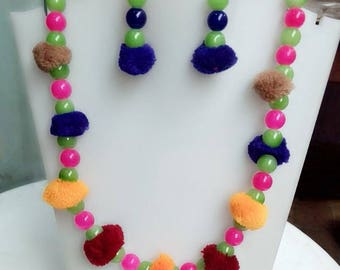 Pom Pom Necklace Earrings set, Multicolor pom pom , Gift for her, Everyday use, Summer earrings necklace, latest fashion, long earrings