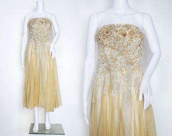 1950s Carven Haute Couture Beaded Dress with Guipure Lace