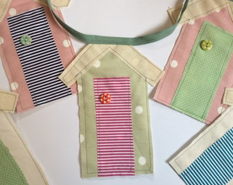 Beach Hut Bunting, Bunting, Cotton Bunting, Seaside Bunting, House Warming Gift, Birthday Present, House Decorations, Shabby Chic,