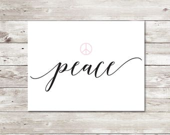 Greeting card, Peace, Just because, Elegant, Printable, PDF, A2, Communication, Mail