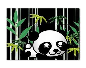 Panda poster, panda wall art, panda in bamboo, panda for kids, art for kids, panda wall print, panda room decor, boys room art, panda bamboo