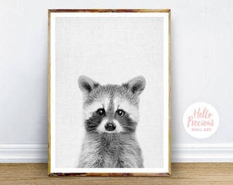 Nursery Decor Raccoon Print, Woodland Nursery Animal, Raccoon Digital Print, Nursery Art, Instant Download Printable Art, Woodland Art