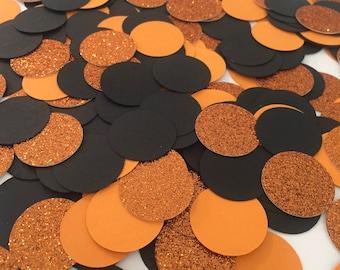Halloween Confetti, Glitter Confetti, Halloween Table Confetti, Halloween Party Decor, Halloween Party Decorations, Black & Orange Confetti