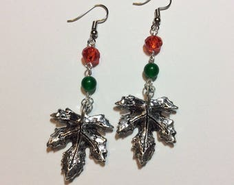 """Earrings """"In red and green maple leaf"""""""