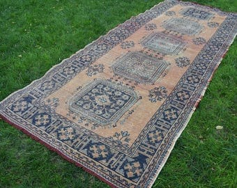 Free Shipping Runner Rug 4.8 x 12.2 feet Vintage Rug Home Decor Boho Rug Oushak Rug Runner Rug Turkish Rug Handknotted Wool Rug DC562