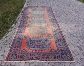 Free Shipping Decorative Turkish Rug 4.8 x 11.2 feet Vintage Boho Decor Rug Oushak Rug Handknotted Wool Rug Floor Rug Area Rug DC885