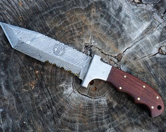 "CLOSEOUT* Serrated Tanto Knife; Rosewood skinner handle, 5.5"" Damascus steel blade"