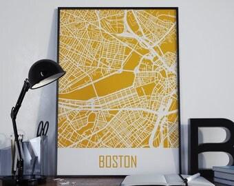 Boston Map Boston Travel Map Boston Street Map Boston City Map Boston Map Poster Boston Map Photo Boston Map Print Boston Wall Art Unframed