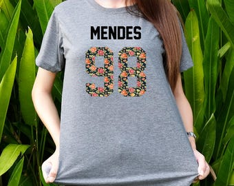 Shawn Mendes, Mendes98 shirt floral flower pattern text birthday number shirts t-shirts Shot sleeves tumblr Unisex Adult size S/M/L/XL/2XL